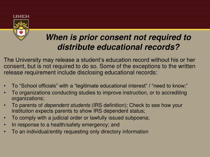 When is prior consent not required to distribute educational records?