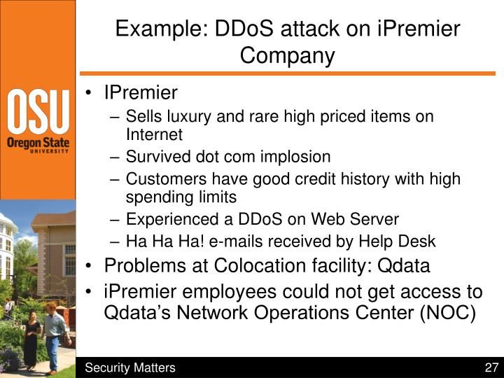 Example: DDoS attack on iPremier Company