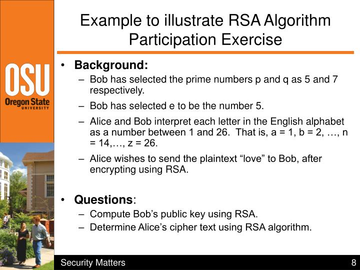 Example to illustrate RSA Algorithm Participation Exercise