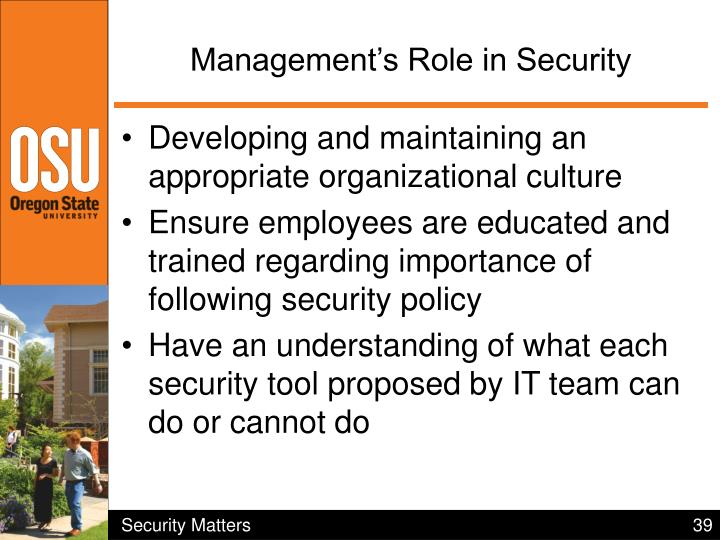 Management's Role in Security