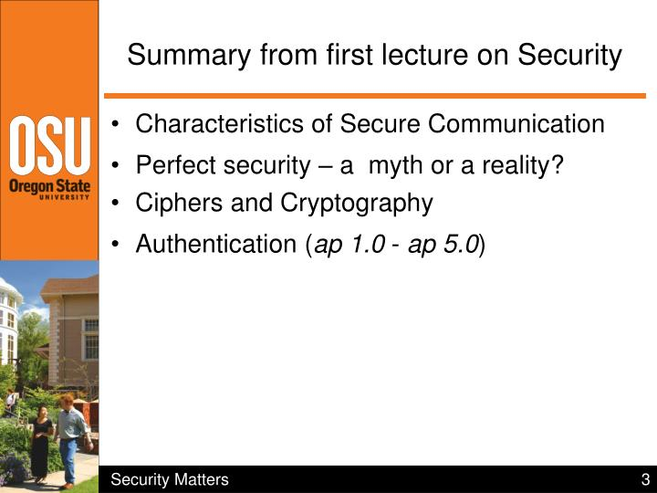 Summary from first lecture on Security
