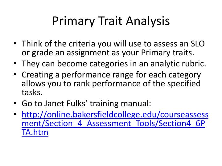 Primary Trait Analysis