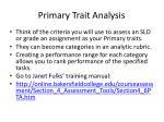 primary trait analysis