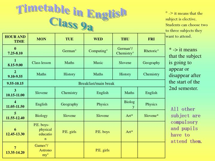 Timetable in English
