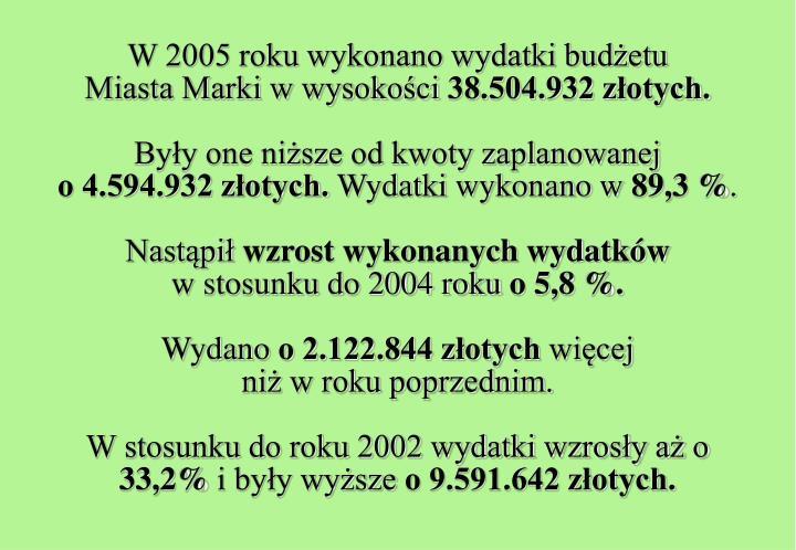 W 2005 roku wykonano wydatki budżetu