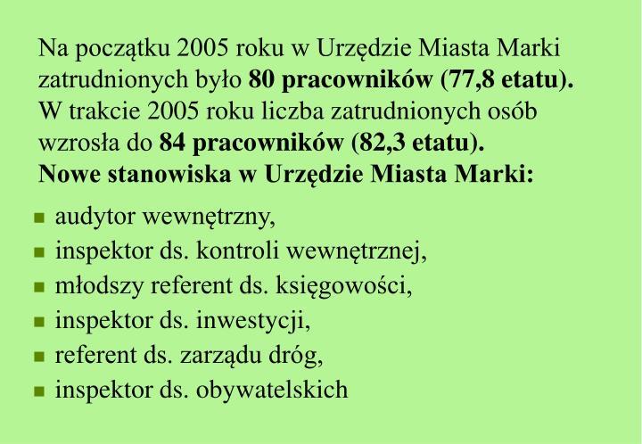 Na początku 2005 roku w Urzędzie Miasta Marki zatrudnionych było