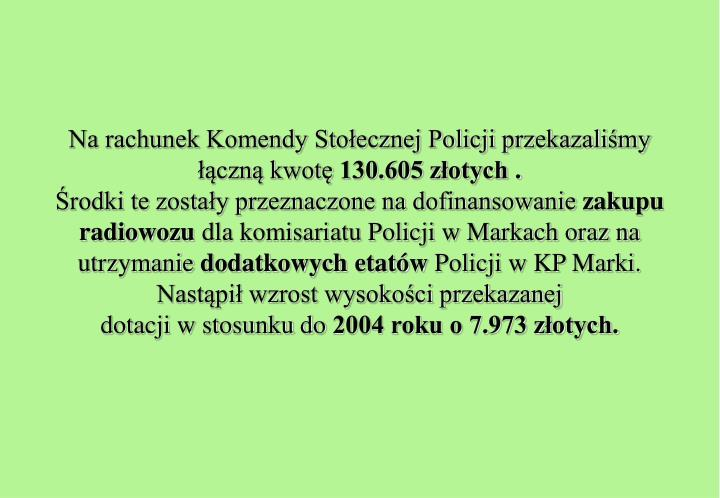 Na rachunek Komendy Stołecznej Policji przekazaliśmy