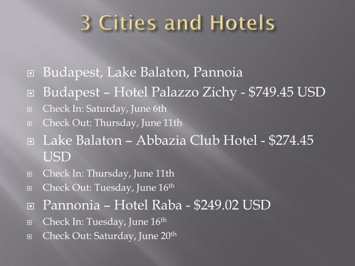 3 Cities and Hotels