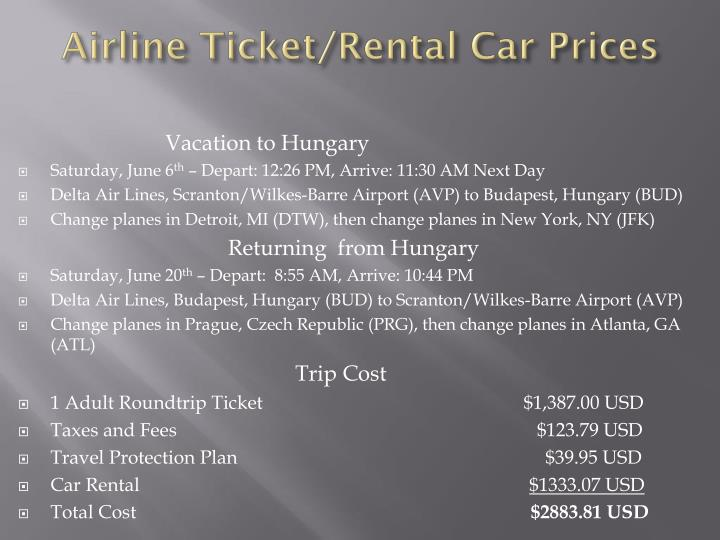 Airline ticket rental car prices