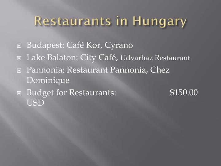 Restaurants in Hungary