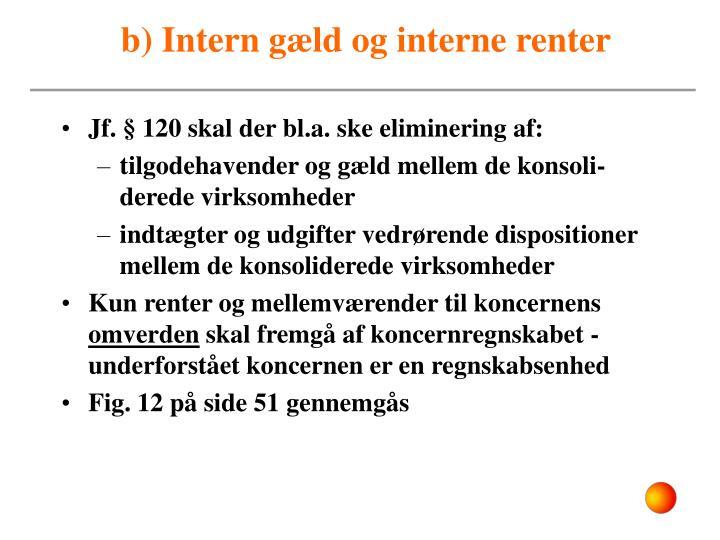 b) Intern gæld og interne renter