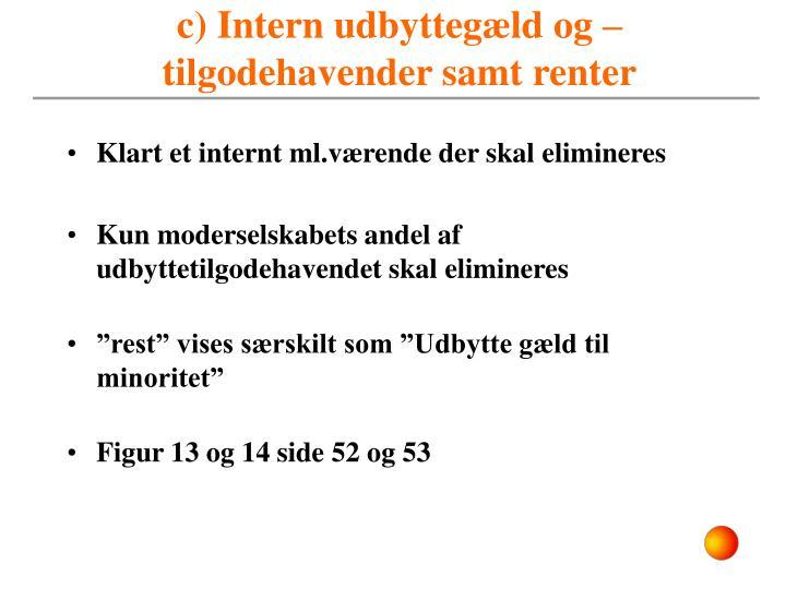 c) Intern udbyttegæld og –tilgodehavender samt renter