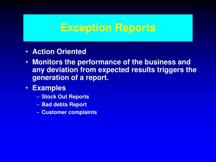 Exception Reports