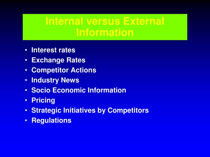 Internal versus External Information