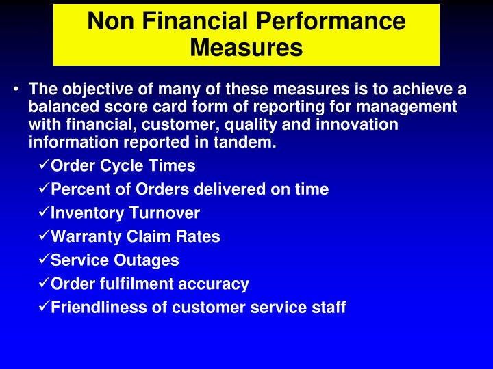 Non Financial Performance Measures
