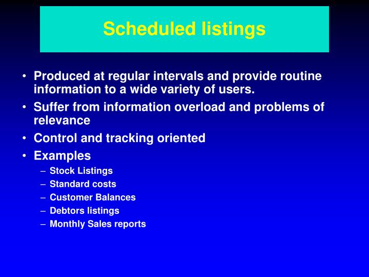 Scheduled listings