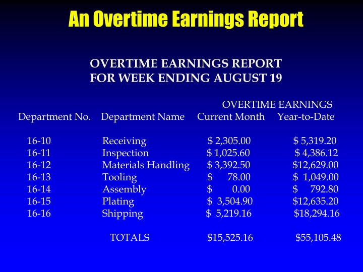 An Overtime Earnings Report