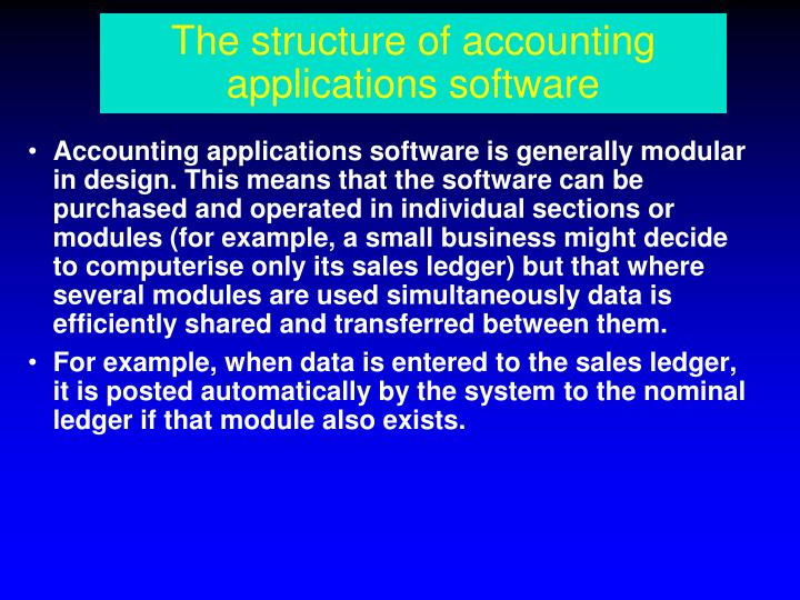 The structure of accounting applications software