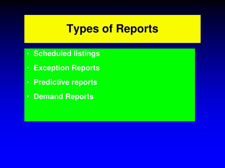 Types of Reports