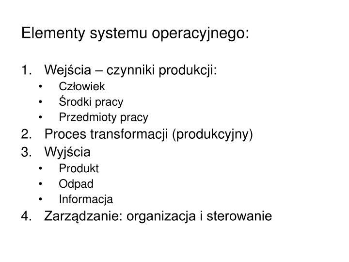 Elementy systemu operacyjnego: