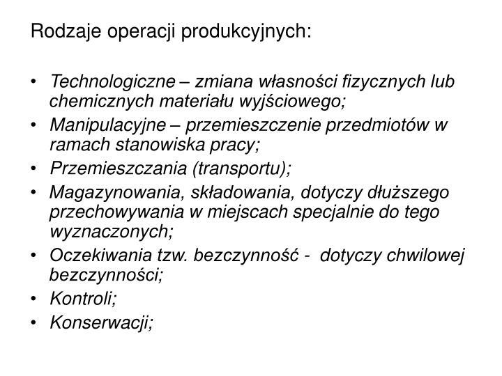 Rodzaje operacji produkcyjnych: