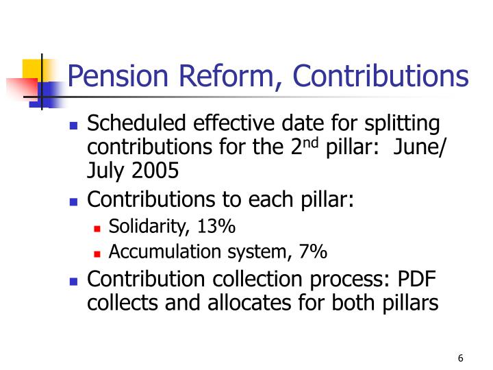 Pension Reform, Contributions