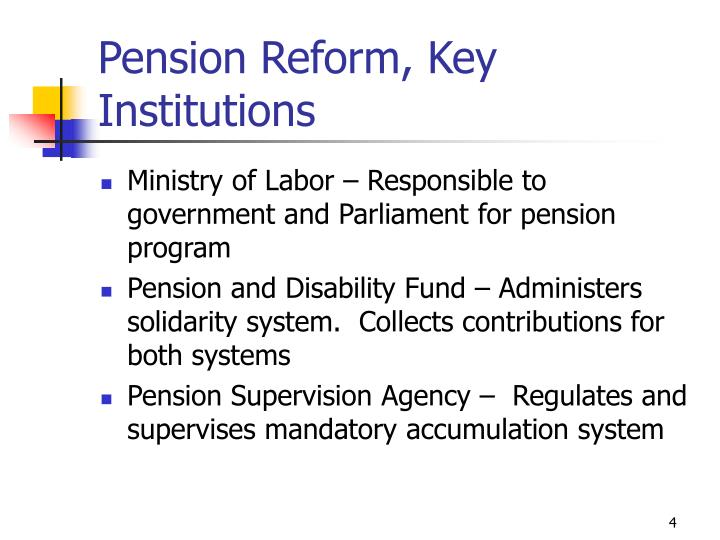 Pension Reform, Key Institutions