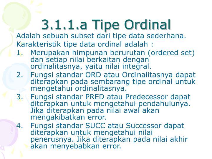 3.1.1.a Tipe Ordinal
