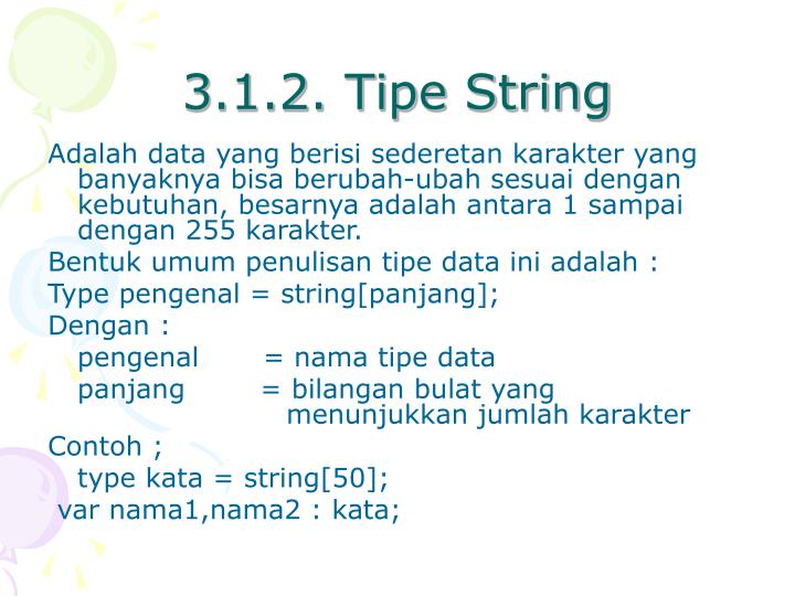3.1.2. Tipe String