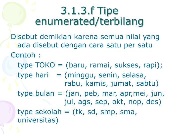 3.1.3.f Tipe enumerated/terbilang