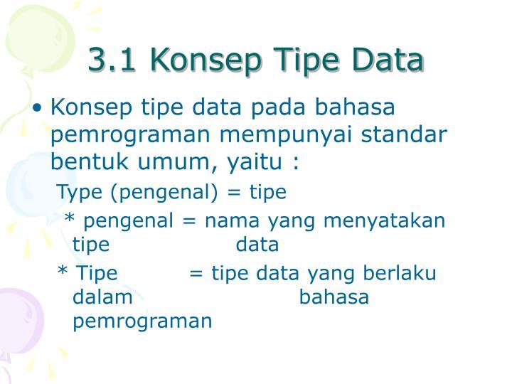 3.1 Konsep Tipe Data