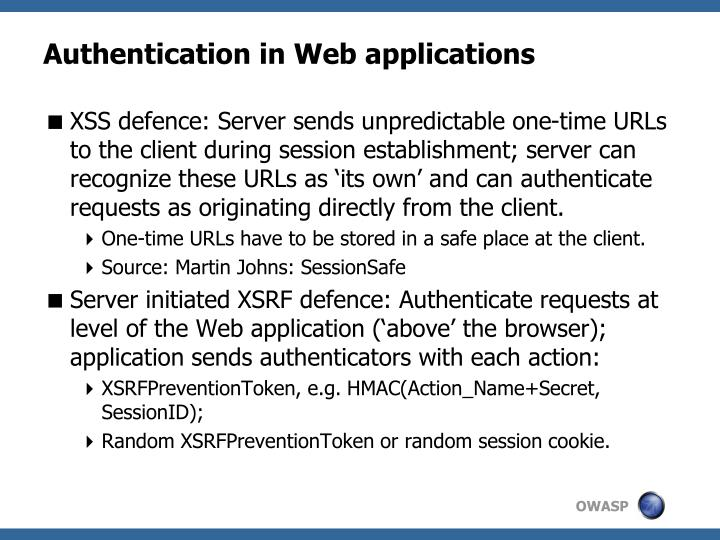 Authentication in Web applications