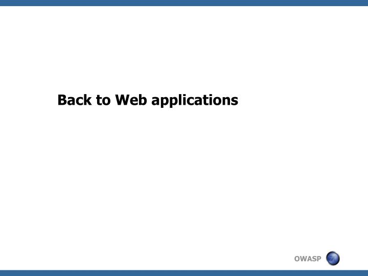 Back to Web applications