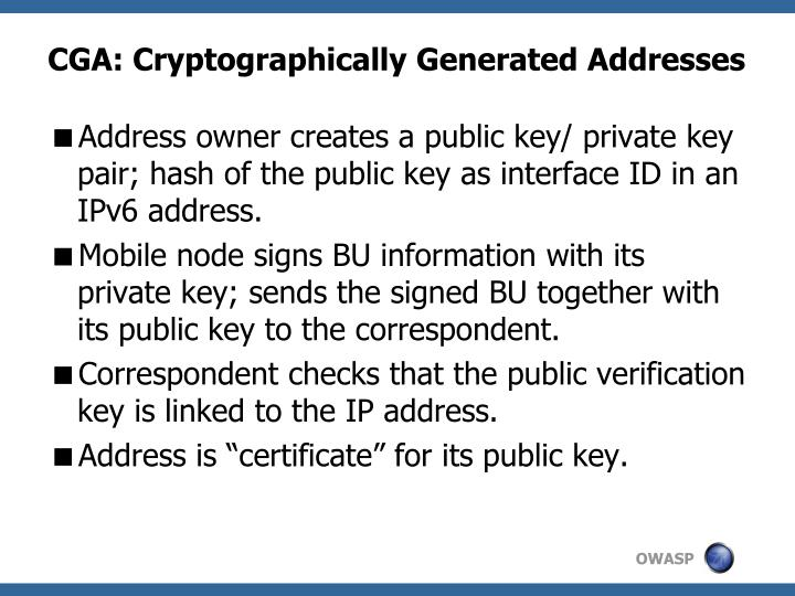 CGA: Cryptographically Generated Addresses