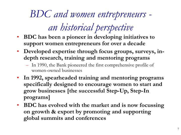 BDC and women entrepreneurs -