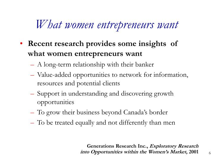 What women entrepreneurs want