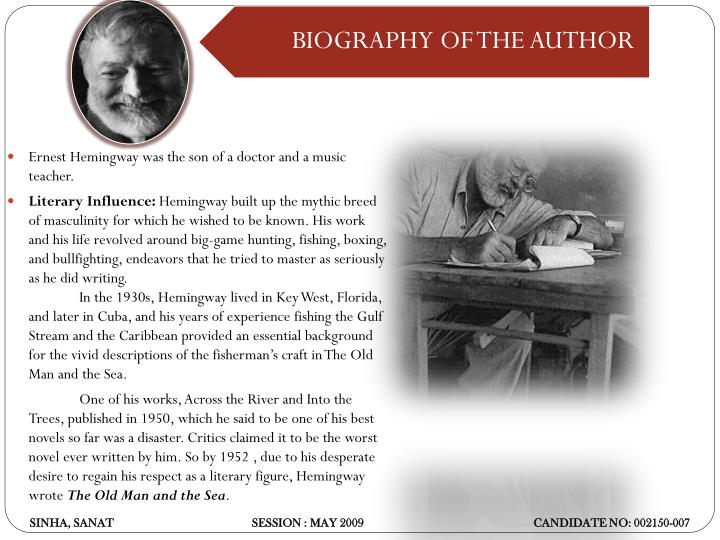 Ernest Hemingway was the son of a doctor and a music teacher.