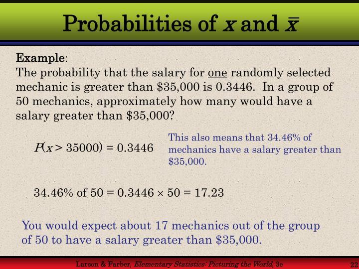 Probabilities of