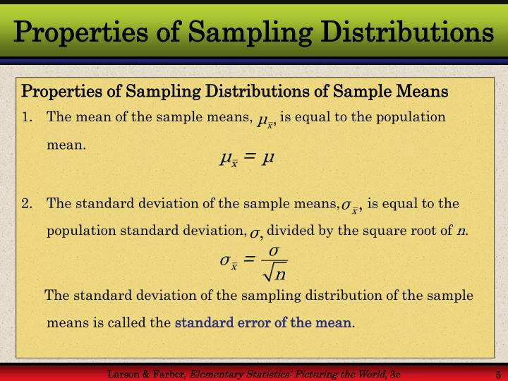 Properties of Sampling Distributions