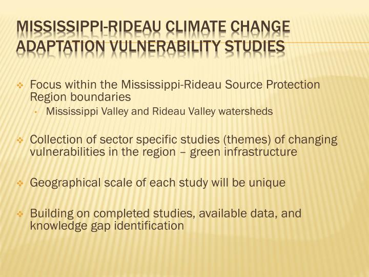 Focus within the Mississippi-Rideau Source Protection Region boundaries