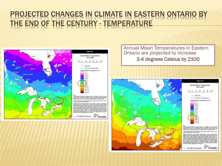 Projected changes in climate in eastern ontario by the end of the century temperature