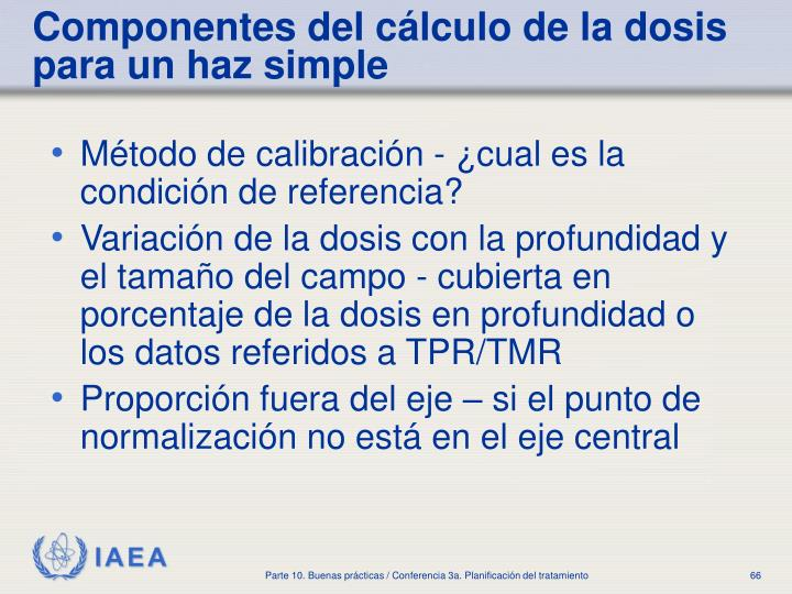 Componentes del cálculo de la dosis para un haz simple