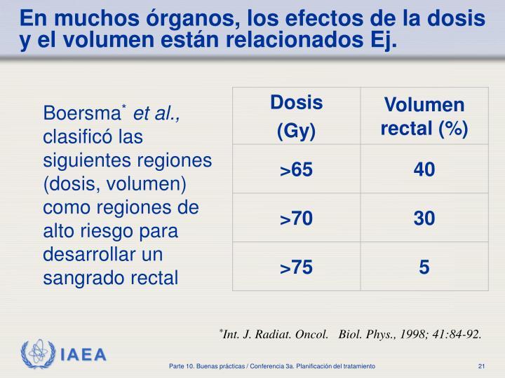 En muchos órganos, los efectos de la dosis y el volumen están relacionados Ej.