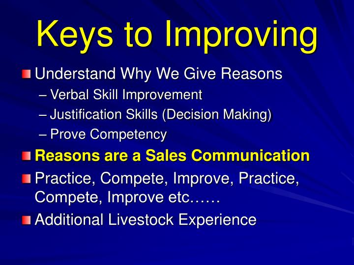 Keys to Improving