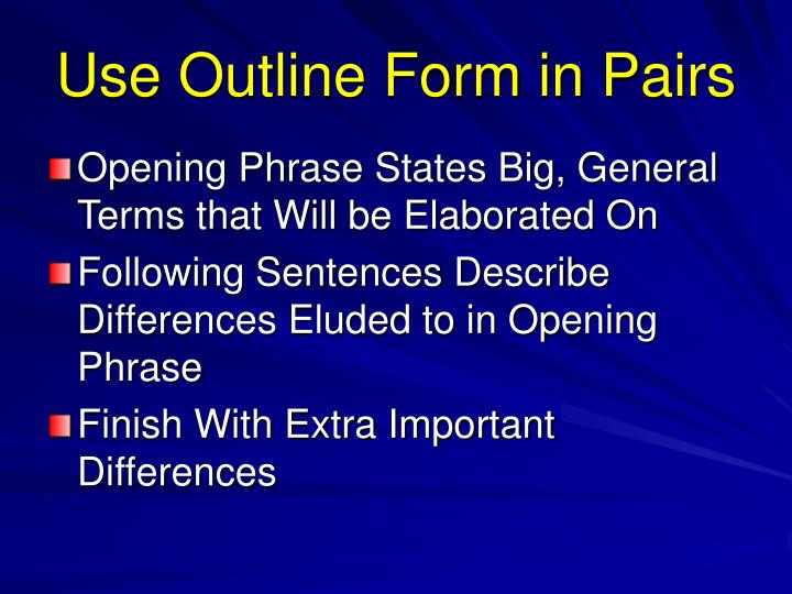 Use Outline Form in Pairs