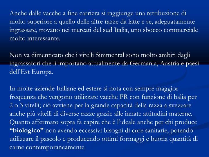 Anche dalle vacche a fine carriera si raggiunge una retribuzione di molto superiore a quello delle altre razze da latte e se, adeguatamente ingrassate, trovano nei mercati del sud Italia, uno sbocco commerciale molto interessante.