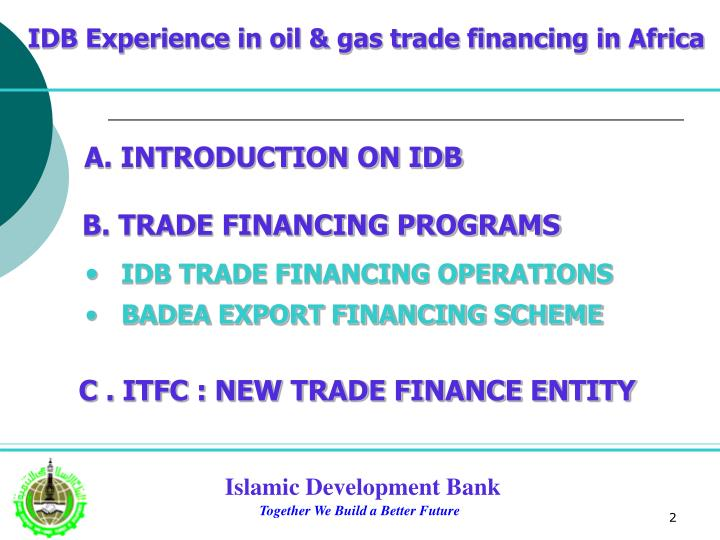 IDB Experience in oil & gas trade financing in Africa