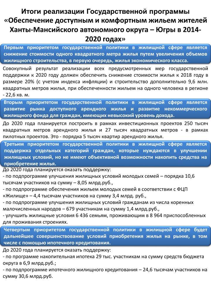 Итоги реализации Государственной программы