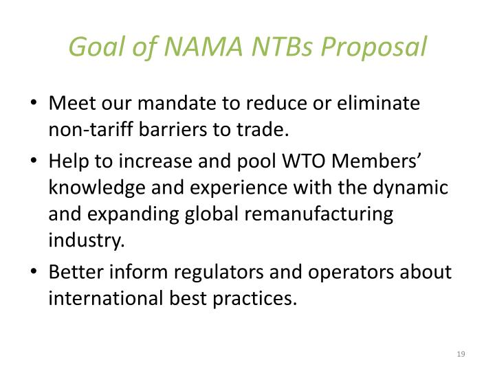 Goal of NAMA NTBs Proposal