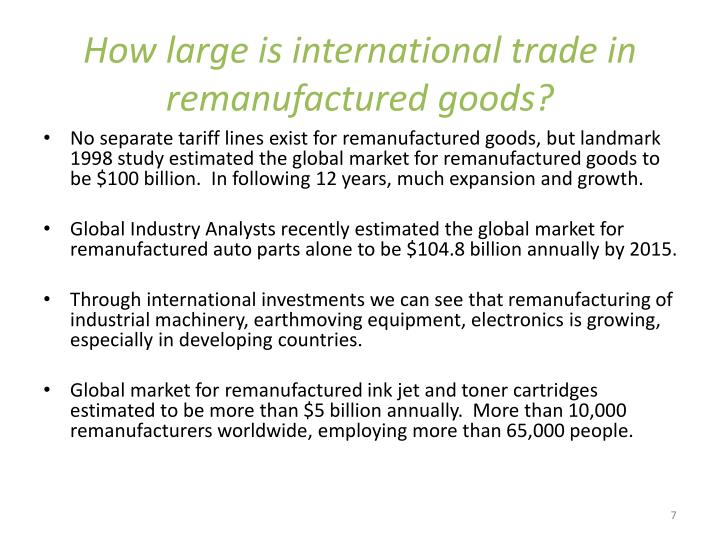 How large is international trade in remanufactured goods?